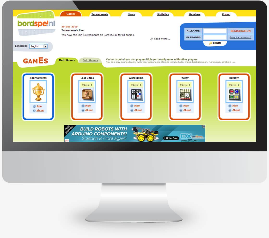 עיצוב אתר פורטל משחקי שולחן אונליין