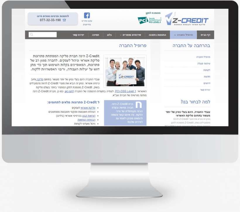 עיצוב אתר של חברה המספקת פתרונות תשלום אונליין בכרטיס אשראי